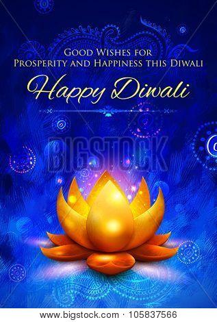 illustration of golden lotus shaped diya on abstract Diwali background