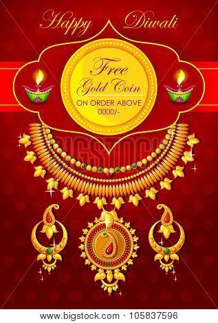 illustration of Happy Diwali jewelery promotion background with diya poster