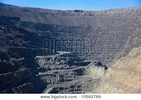 Close up view of open-pit coast mine