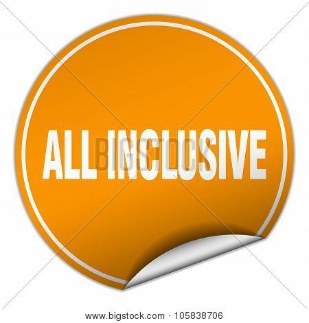 All Inclusive Round Orange Sticker Isolated On White
