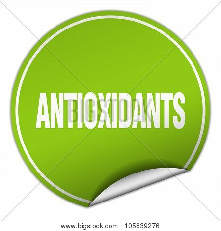 antioxidants round green sticker isolated on white poster