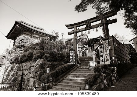 KYOTO, JAPAN - MAY 18: Jishu Jinja Shrine exterior on May 18, 2013 in Kyoto. Former imperial capital of Japan for more than one thousand years, it has the name of City of Ten Thousand Shrines.