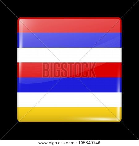 Imperial Variant Flag Of Iran. Glassy Icon Square Shape