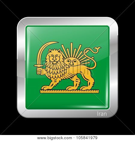 Variant Flag Of Iran With Lion And Sun Emblem. Metallic Icon Square Shape