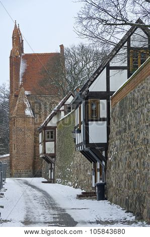 Historic Town Gate And Guard Houses, Neubrandenburg, Germany