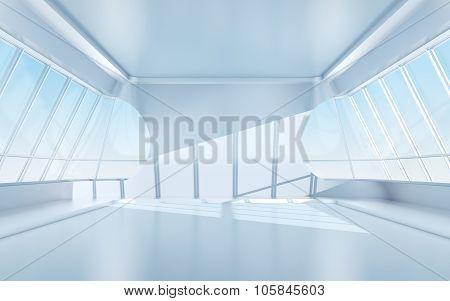 Futuristic Room With Oval Windows
