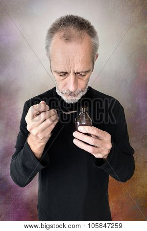 A mature man is pouring cough syrup in a spoon to cure his sore throat and bronchitis poster