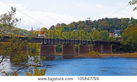 Railway bridge over Shenandoah River at Harpers Ferry in West Virginia.