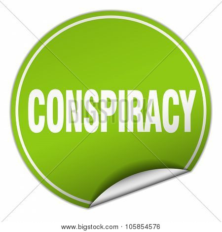 Conspiracy Round Green Sticker Isolated On White