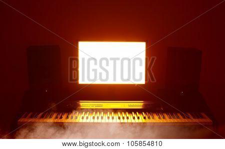 abstract digital audio workstation (daw) studio poster