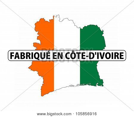 made in ivory coast country national flag map shape with text poster
