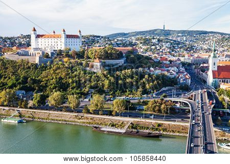 Danube Waterfront And Panorama Of Bratislava City