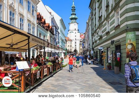 Restaurants On Michalska Street In Bratislava