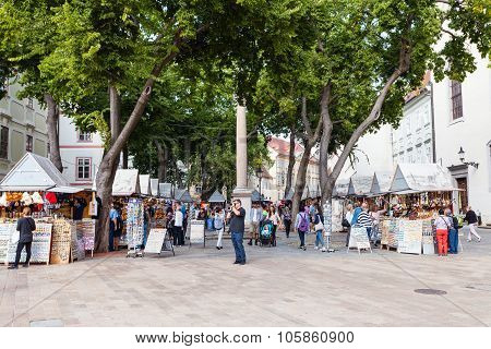 Souvenir Shops On The Town Square In Bratislava