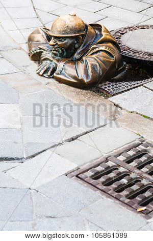 Bronze Sculpture Of Cumil The Peeper In Bratislava