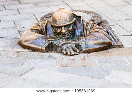 Bronze Figure Of Cumil The Peeper In Bratislava