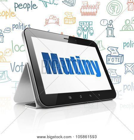 Political concept: Tablet Computer with Mutiny on display