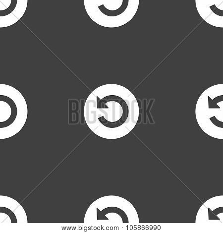 Upgrade, Arrow, Update Icon Sign. Seamless Pattern On A Gray Background.