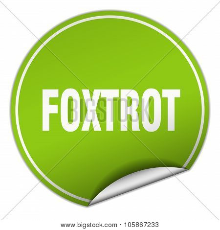 Foxtrot Round Green Sticker Isolated On White