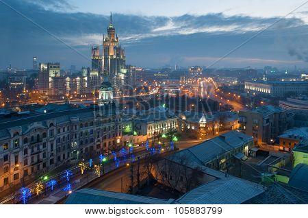 Yauza Boulevard, building on Kotelnicheskaya Embankment at night in Moscow