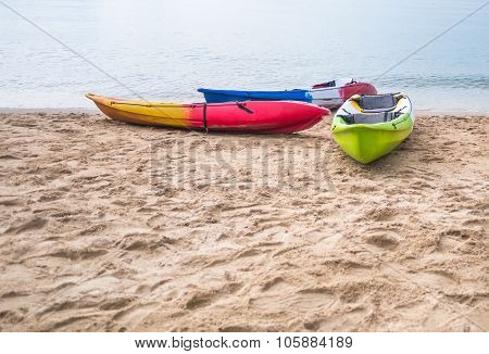 Kayak Boat On The Sea Shore