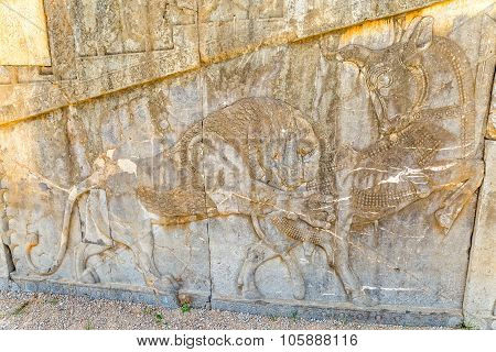 Lion relief detail at the relief of the old city Persepolis. poster