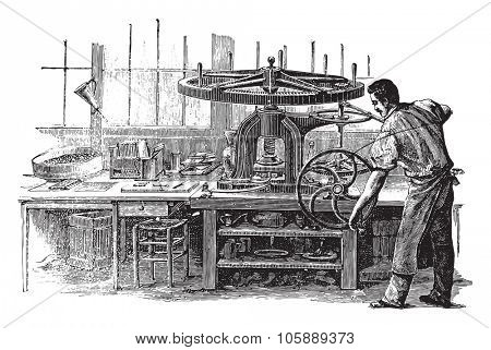 Press, vintage engraved illustration. Industrial encyclopedia E.-O. Lami - 1875.