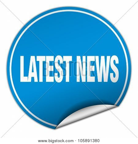 Latest News Round Blue Sticker Isolated On White