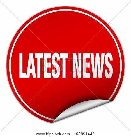 Latest News Round Red Sticker Isolated On White