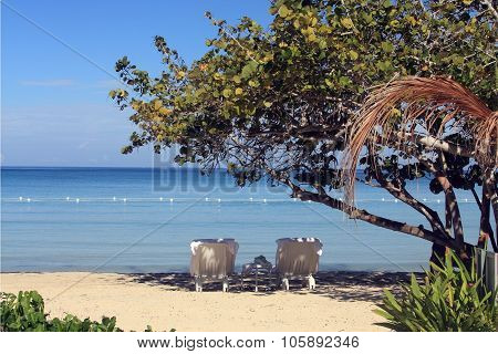 Tropical Beach In Jamaica And Blue Caribbean Sea