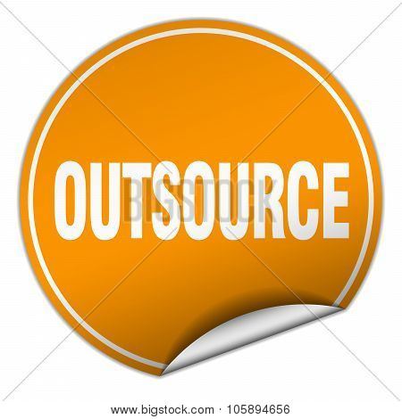 Outsource Round Orange Sticker Isolated On White