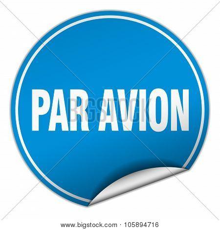 Par Avion Round Blue Sticker Isolated On White