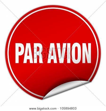 Par Avion Round Red Sticker Isolated On White