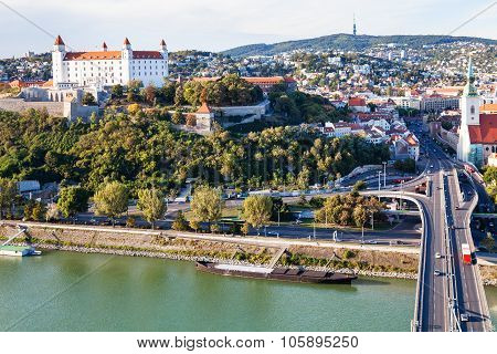 Danube Waterfront, Bridge And Bratislava City