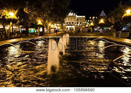 Fountain At Hviezdoslav Square Bratislava In Night