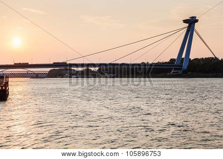 Snp Bridge Across Danube River In Early Morning