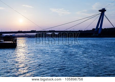 New Bridge Across Danube River At Blue Dawn