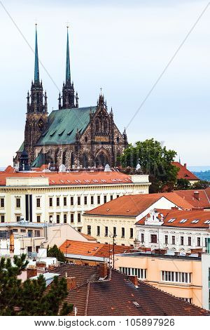 travel to Brno city - View of Cathedral of St Peter and Paul in Brno Czech poster