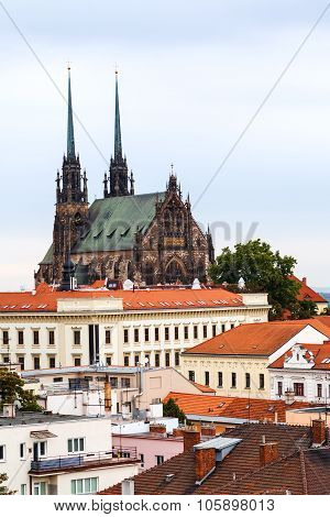 travel to Brno city - Cathedral of St Peter and Paul on Petrov hill in Brno Czech poster