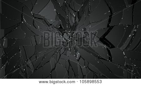 Pieces Of Cracked Glass On Black Background