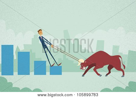 Businessman Inverstor Shares Market Trader Hold Bull Push Up Stock Exchange Concept Finance Business