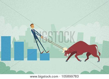 Businessman Inverstor Shares Market Trader Hold Bull Push Up Stock Exchange Concept Finance Business