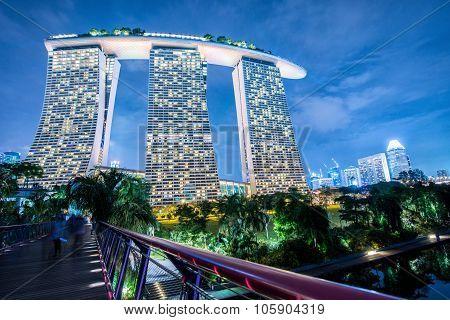 SINGAPORE -May 11: Wonderful sunrise at the Marina Bay waterfront in Singapore. Marina Bay Sands Ho