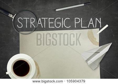 Strategic plan concept on blackboard
