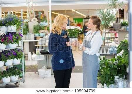 Smiling salesgirl looking at female customer smelling flowers in shop