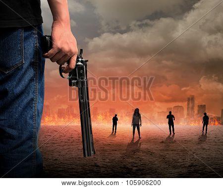 Man Hand Holding Gun Fighting Zombie