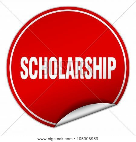 Scholarship Round Red Sticker Isolated On White