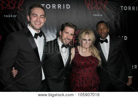 LOS ANGELES - OCT 22:  Emile Welman, Hugh Sheridan, Rebel Wilson, Gabe Roland at the Rebel Wilson for Torrid Launch Party at the Milk Studios on October 22, 2015 in Los Angeles, CA