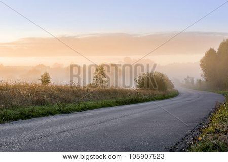 Early Misty Morning Landscape In Poland