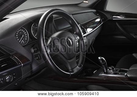 Car Interior. Steering Wheel